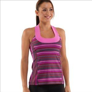 Lululemon Pink / Gray Striped Scoop Neck Tank 12